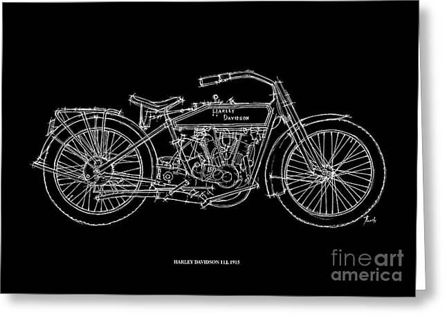 Office Pastels Greeting Cards - Harley Davidson 11J 1915 Greeting Card by Pablo Franchi