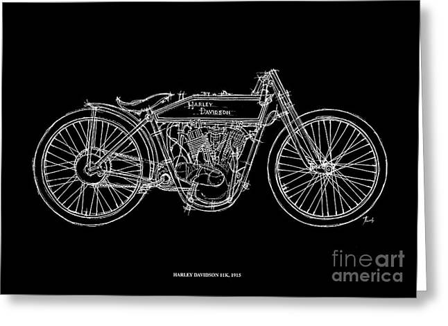 Motorcycles Pastels Greeting Cards - Harley Davidson 11K 1915 Greeting Card by Pablo Franchi