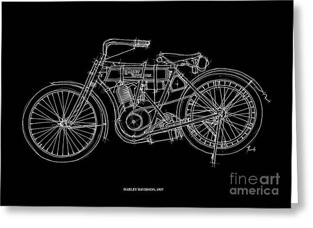 1907 Drawings Greeting Cards - Harley Davidson 1907 Greeting Card by Pablo Franchi