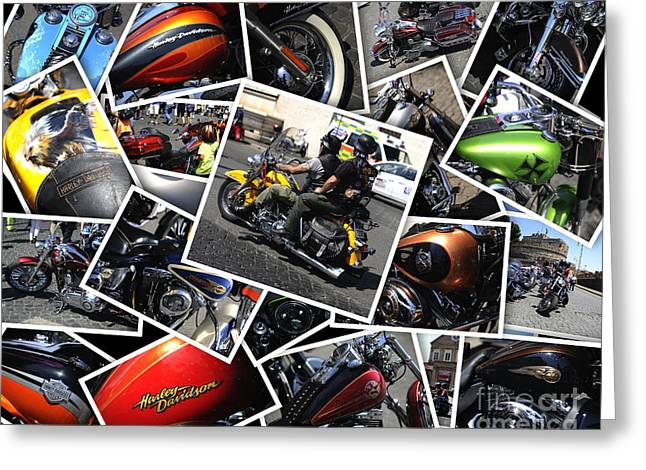 Harley Davidson Anniversary In Rome Greeting Card by Stefano Senise