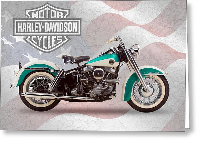 Duo Greeting Cards - Harley-Davidson Duo-Glide Greeting Card by Mark Rogan