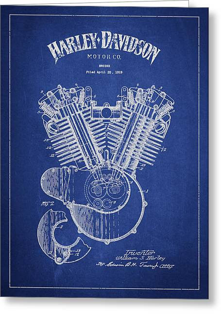 Technical Greeting Cards - Harley Davidson Engine Patent Drawing From 1919 - Blue Greeting Card by Aged Pixel