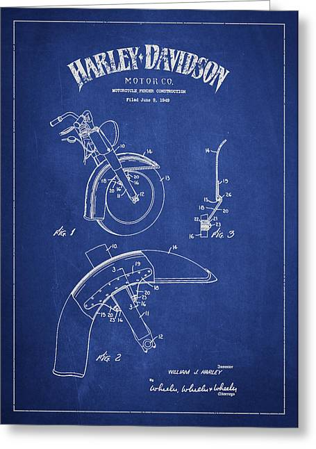 Chopper Greeting Cards - Harley Davidson Fender Construction Patent Drawing From 1949 - Blue Greeting Card by Aged Pixel