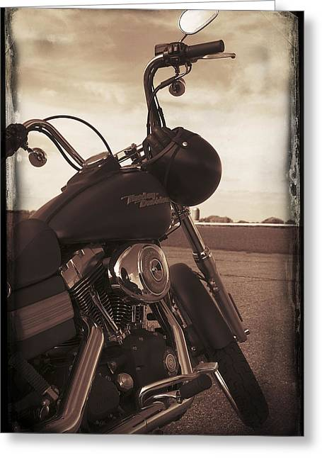 Duo Tone Digital Art Greeting Cards - Harley Davidson Greeting Card by Martin  Fry