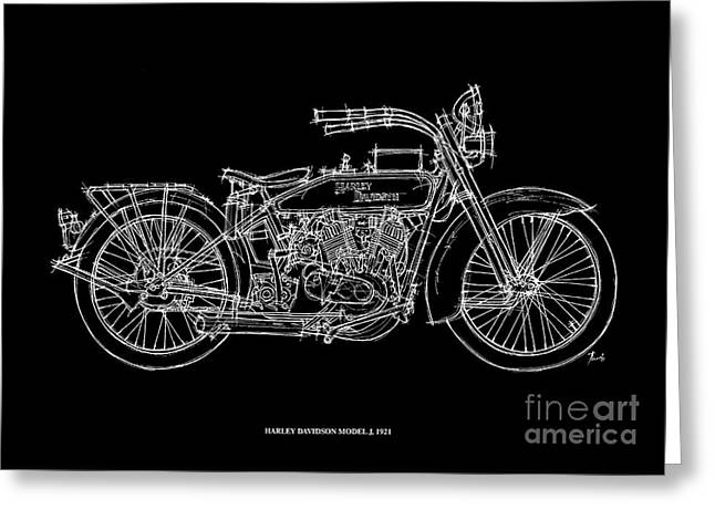 Motorcycles Pastels Greeting Cards - Harley Davidson Model J 1921 Greeting Card by Pablo Franchi