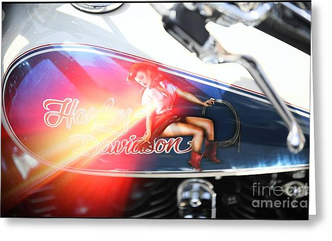 Transfer Greeting Cards - Harley Davidson Pin Up Greeting Card by Stefano Senise