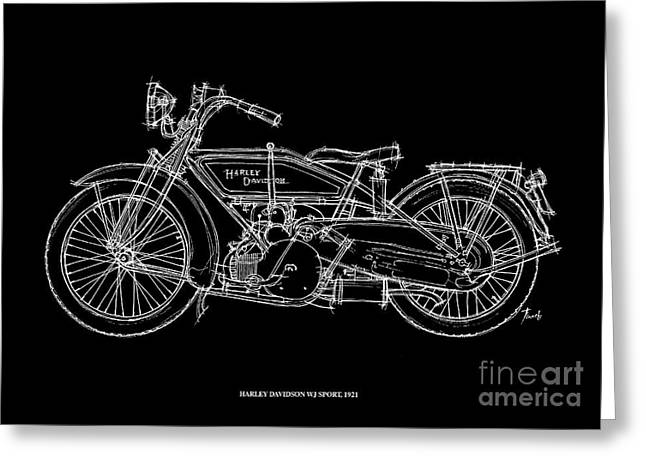 Motorcycles Pastels Greeting Cards - Harley Davidson WJ Sport 1921 Greeting Card by Pablo Franchi