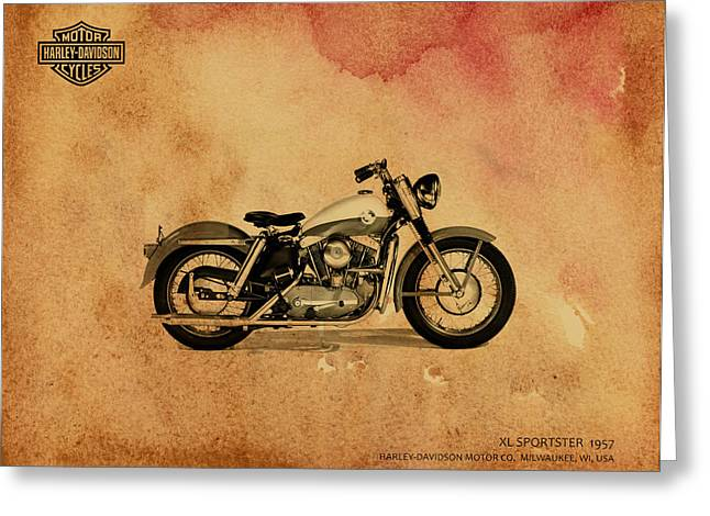 Glide Greeting Cards - Harley Davidson XL Sportster 1957 Greeting Card by Mark Rogan