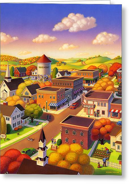 Robin Moline Greeting Cards - Harmony Town Greeting Card by Robin Moline