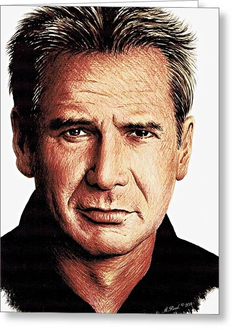 Movie Drawings Greeting Cards - Harrison Ford Greeting Card by Andrew Read