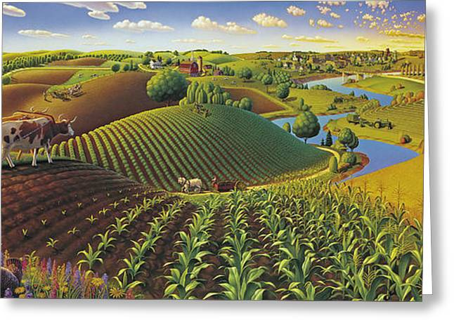 Harvest Panorama  Greeting Card by Robin Moline