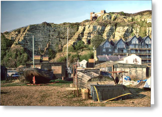 Funicular Greeting Cards - Hastings Old Town Greeting Card by Sharon Lisa Clarke