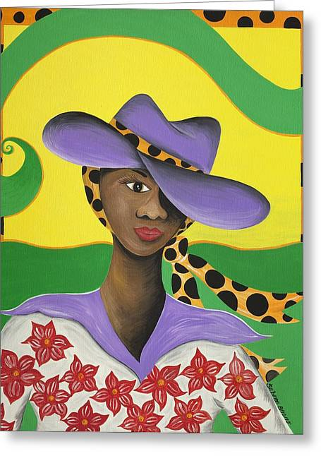 Gullah Art Greeting Cards - Hat Appeal Greeting Card by Patricia Sabree
