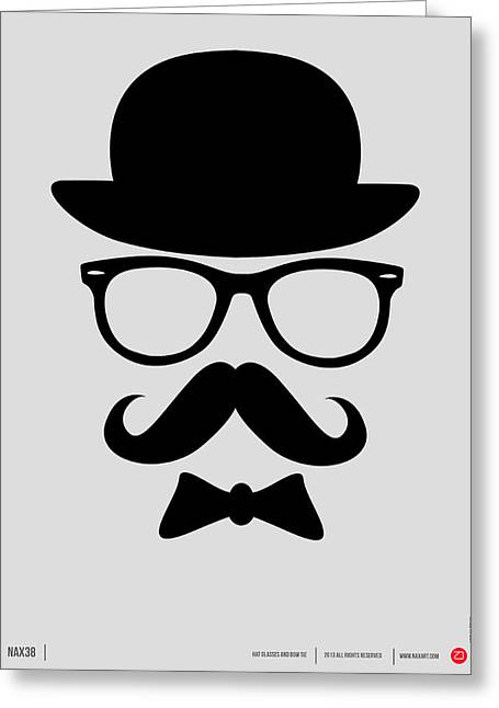 Humor Digital Art Greeting Cards - Hats Glasses and Mustache Poster 2 Greeting Card by Naxart Studio