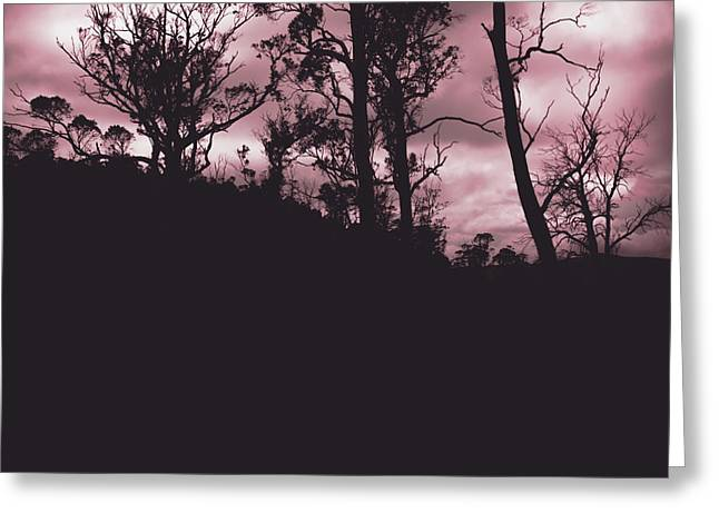 Haunted Woods Greeting Cards - Haunted horror forest in twisted red darkness Greeting Card by Ryan Jorgensen
