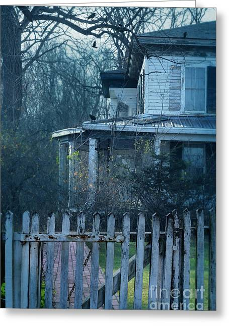 Clapboard House Greeting Cards - Haunted House Greeting Card by Jill Battaglia