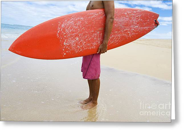 Michael Sweet Greeting Cards - Hawaii, Kauai, Man Holding Surfboard On Beach, View From Side. Greeting Card by M Swiet Productions