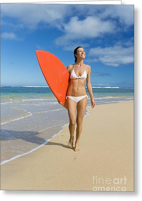 Michael Sweet Greeting Cards - Hawaii, Kauai, Woman Walking Along Beach With Beach With Surfboard. Greeting Card by M Swiet Productions