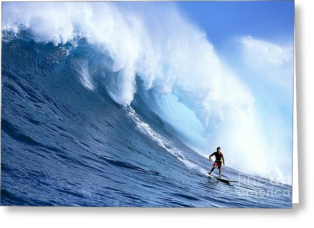 Turbulent Skies Greeting Cards - Hawaii, Maui, Jaws, Sierra Emory Looks At Camera, In Front Of Large Wave Greeting Card by Erik Aeder