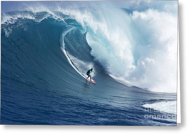 Surfing Art Greeting Cards - Hawaii, Maui, Yuri Farrant Surfs Huge Wave At Jaws, Aka Peahi. Greeting Card by Ron Dahlquist