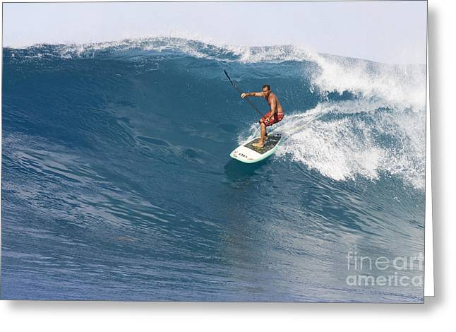 Steer Greeting Cards - Hawaii, Oahu, Makaha, Brian Keaulana Paddle Surfing A Big Wave. Greeting Card by Joss Descoteaux