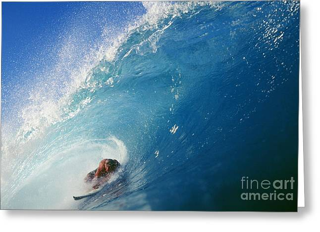 Hawaii, Oahu, North Shore, Banzai Pipeline, Pancho Sullivan Riding Wave Greeting Card by Vince Cavataio