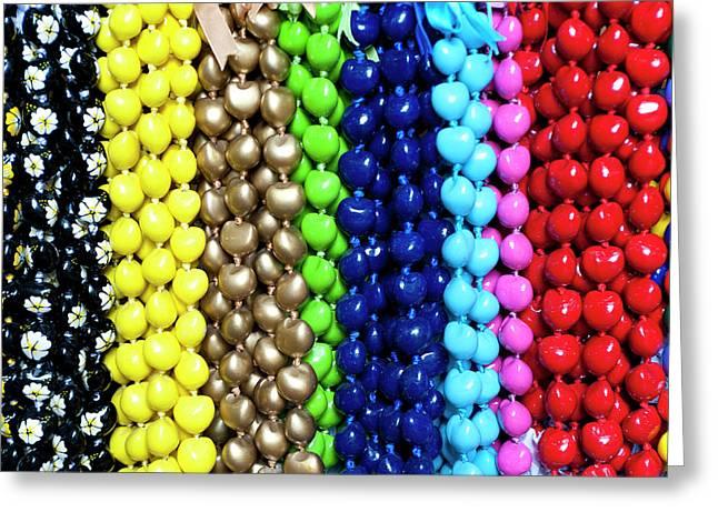 Hawaiian Lei Or Necklaces Display Greeting Card by Daisy Gilardini