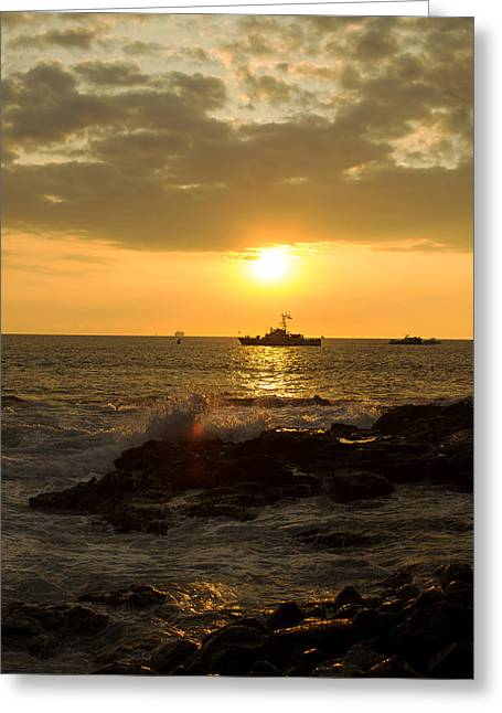 Yellow Sailboats Greeting Cards - Hawaiian Waves at Sunset Greeting Card by Bryant Coffey