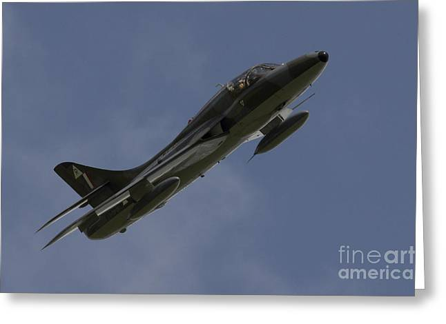 Airplane Pyrography Greeting Cards - Hawker Hunter Greeting Card by J Biggadike