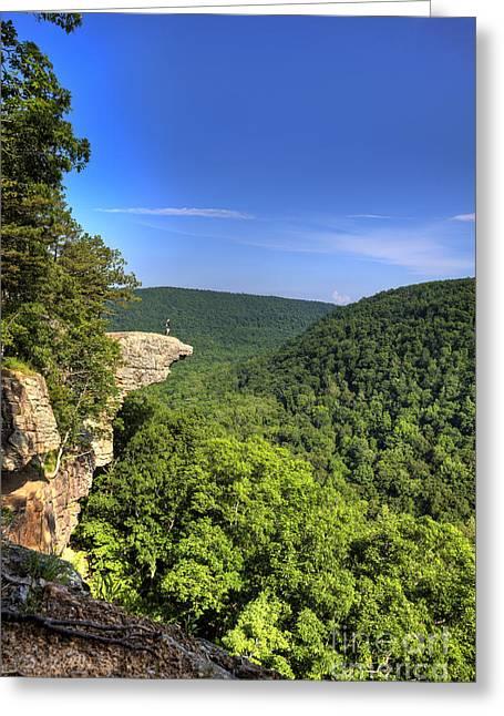 Arkansas Greeting Cards - Hawksbill Crag Hiker Greeting Card by Brandon Alms