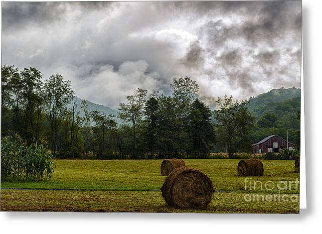 Hay Bales Greeting Cards - Hay Bales Barn Stormy Sky Greeting Card by Thomas R Fletcher