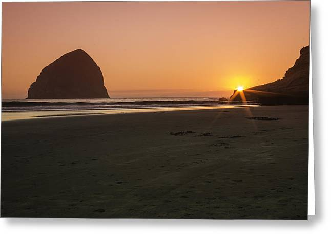 Ocean Landscape Greeting Cards - Haystack Sunset Greeting Card by Colby Drake