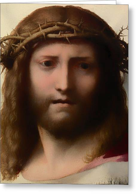 Religious Artwork Paintings Greeting Cards - Head of Christ Greeting Card by Correggio