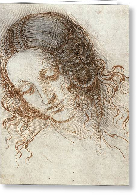 Leda Greeting Cards - Head of Leda Greeting Card by Leonardo Da Vinci