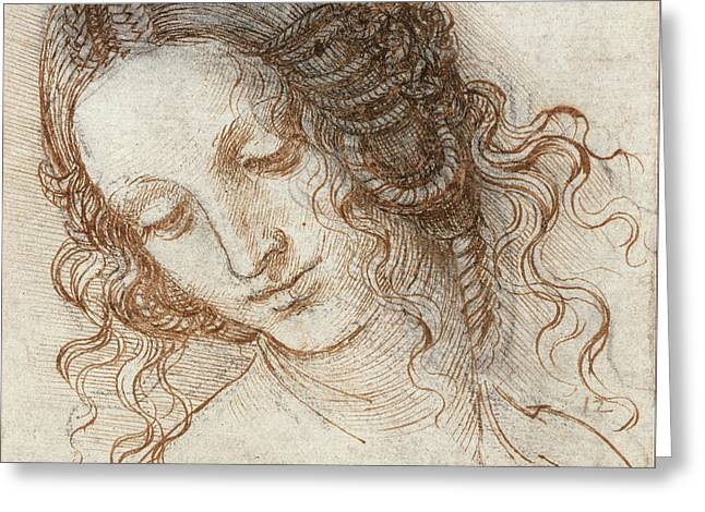 Head Of Leda Greeting Card by Leonardo Da Vinci