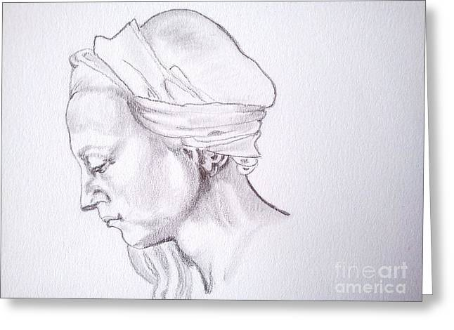 Buonarroti Drawings Greeting Cards - Head Study of a woman Greeting Card by Franca Sorice