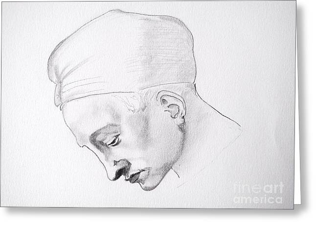 Buonarroti Drawings Greeting Cards - Head Study of a young woman Greeting Card by Franca Sorice