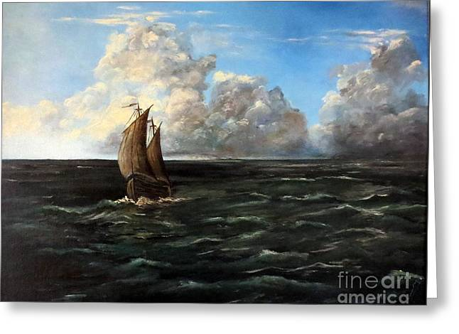 Schooner Greeting Cards - Heading for Shore Greeting Card by Lee Piper