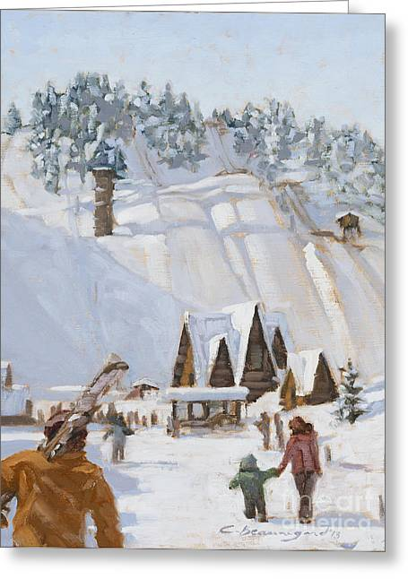 Ski Jumping Greeting Cards - Heading to the Hill Greeting Card by Chula Beauregard