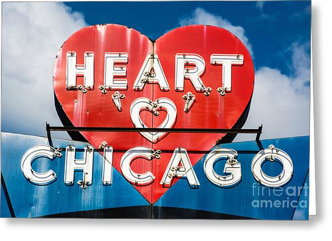 Midwestern Art Greeting Cards - Heart o Chicago Greeting Card by Emily Kay
