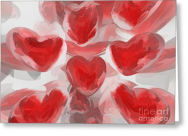Subtle Colors Greeting Cards - Hearts Afire Abstract  Greeting Card by Alexander Butler
