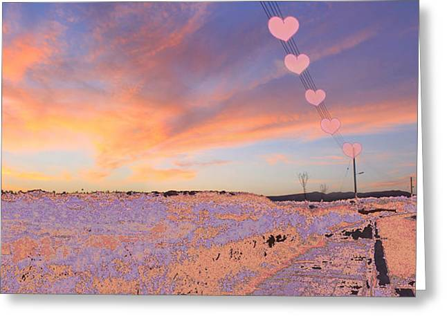 Amazing Sunset Digital Greeting Cards - Hearts Sunset Greeting Card by Augusta Stylianou