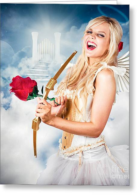 Pearly Gates Greeting Cards - Heavenly angel of love with flower arrow Greeting Card by Ryan Jorgensen