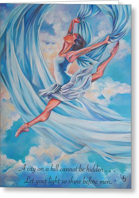 Ballet Dancers Drawings Greeting Cards - Heavenly Dance Greeting Card by Tamer and Cindy Elsharouni