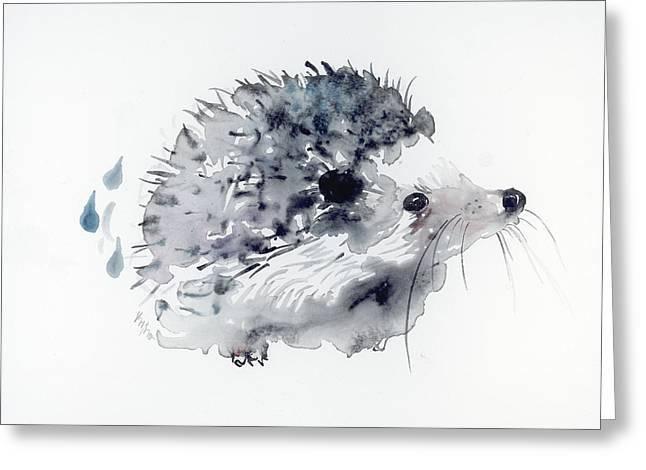 Sumi Greeting Cards - Hedgehog Greeting Card by Kristina Broza