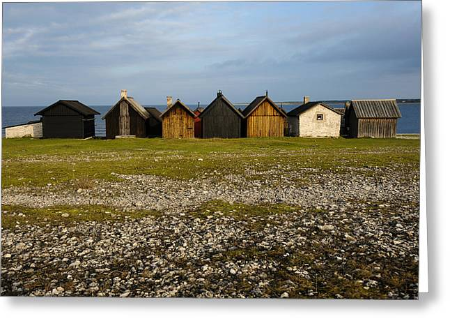 Tin Roof Greeting Cards - Helgumannen Fishing Village Greeting Card by Christopher Smith
