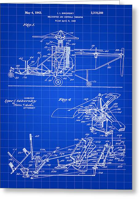 Engineering Greeting Cards - Helicopter Patent 1940 - Blue Greeting Card by Stephen Younts