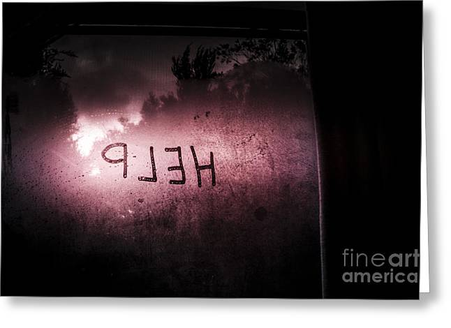 Help Written On A Misty Glass Window. No Escape Greeting Card by Jorgo Photography - Wall Art Gallery
