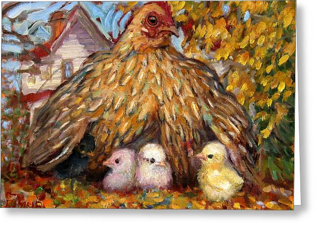 Vermont Rooster Greeting Cards - Hen and Chicks Greeting Card by Paul Emory
