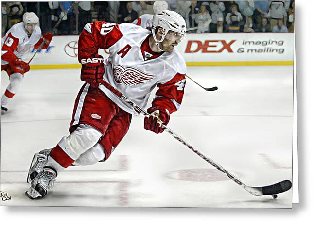 Reebok Greeting Cards - Henrik Zetterberg Greeting Card by Don Olea